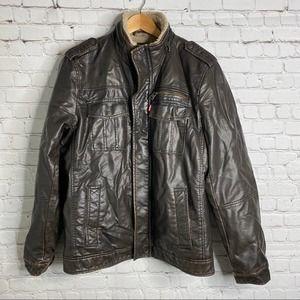 Levi's Men's Faux Leather Sherpa Lined Jacket Coat